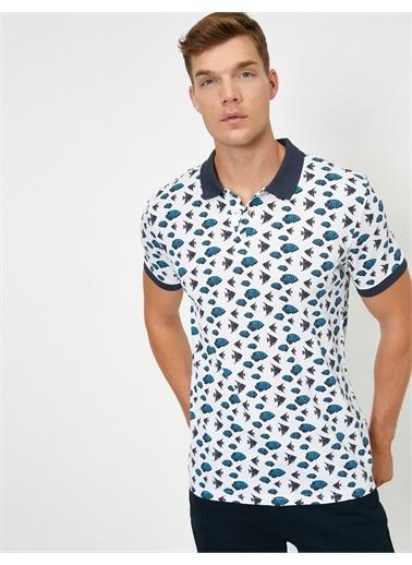 Koton Polo Yaka Kisa Kollu Desenli T-Shirt Beyaz